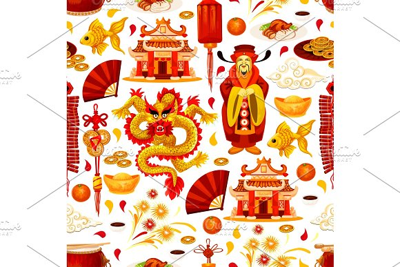 Chinese lunar New Year symbols vector pattern