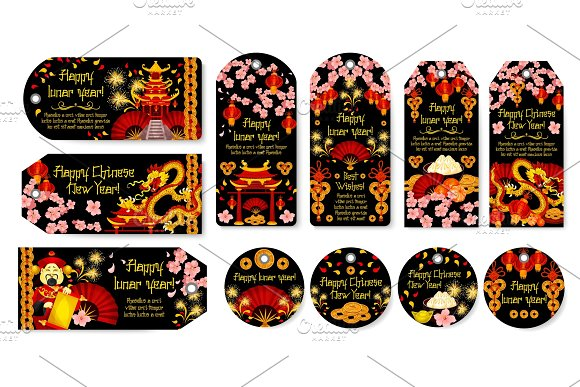 Chinese New Year vector greeting tags
