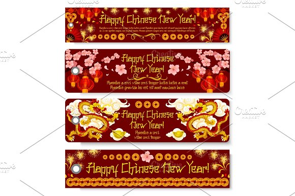 chinese new year banner with dragon and lantern illustrations