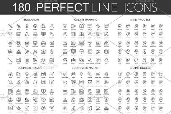 180 Perfect Line icons.
