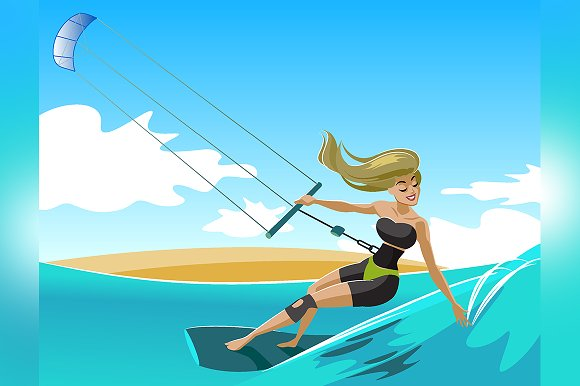 Young surf girl with kiteboard in Illustrations