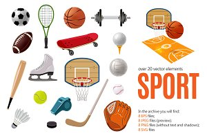 Sports Objects Set