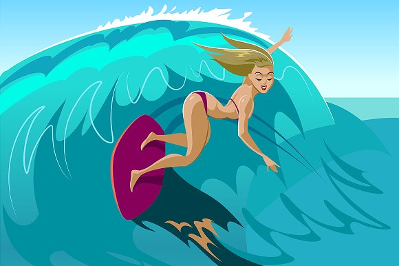 Young surf girl with surfboard in Illustrations