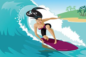 Young surf girl with surfboard