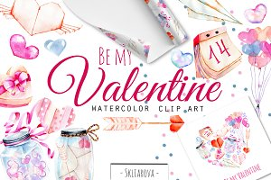 Be my Valentine. Watercolor clipart.