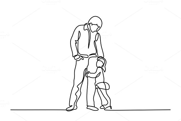Father and little daughter in Illustrations