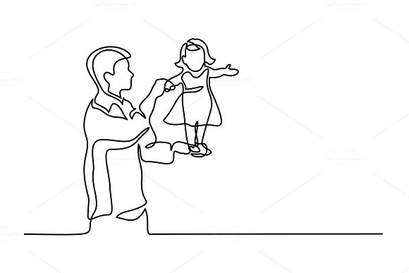 Father holding happy daughter up in air in Illustrations