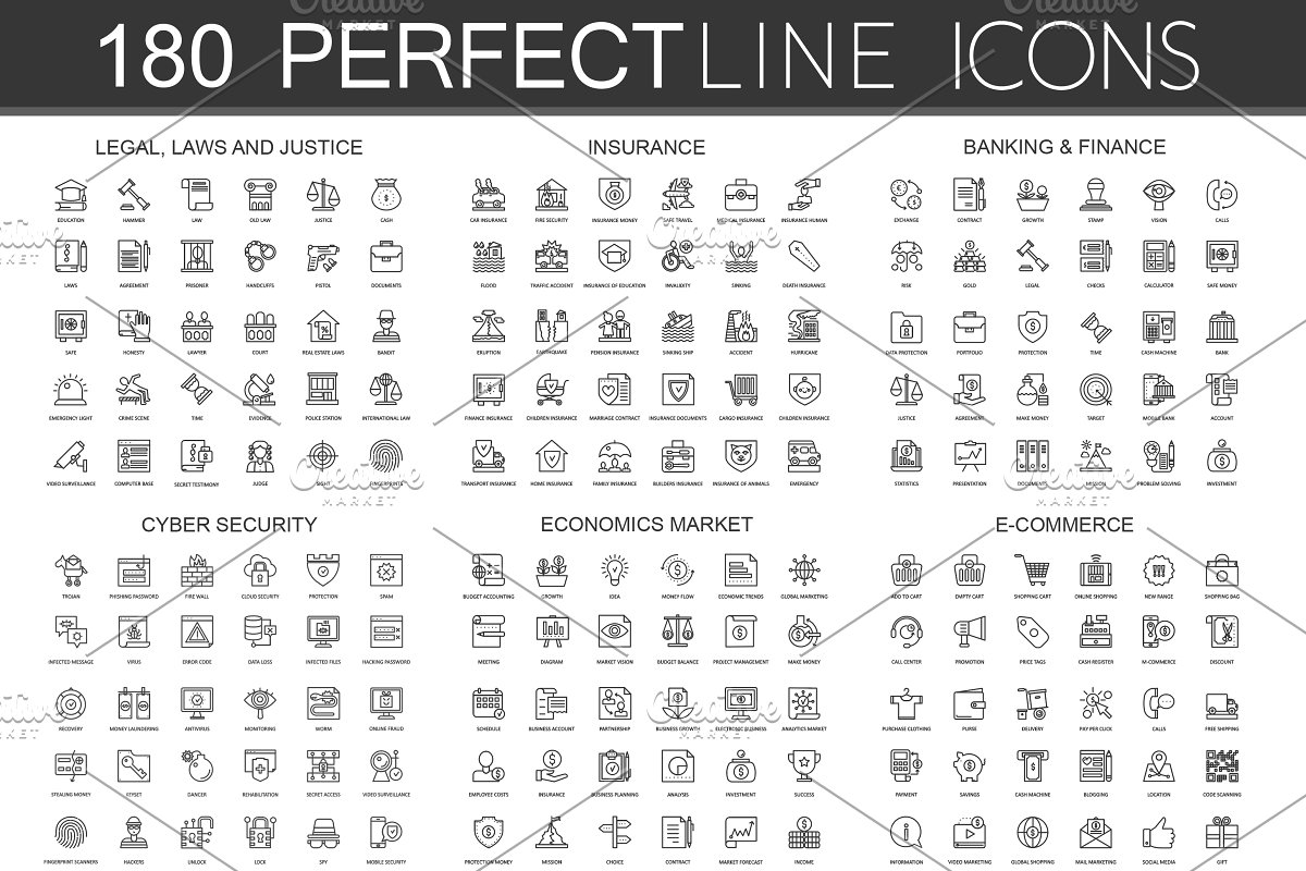 180 Perfect Line icons. in Safety Icons