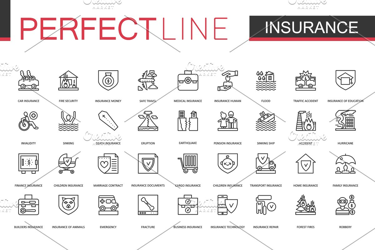 180 Perfect Line icons. in Safety Icons - product preview 4
