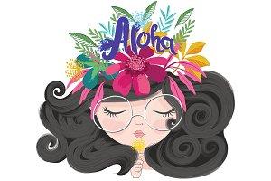 Hawaii concept girl,cute girl vector