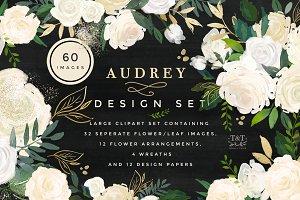Watercolor Floral Design Set -Audrey
