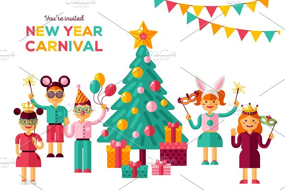 Children New year 2018 carnival party