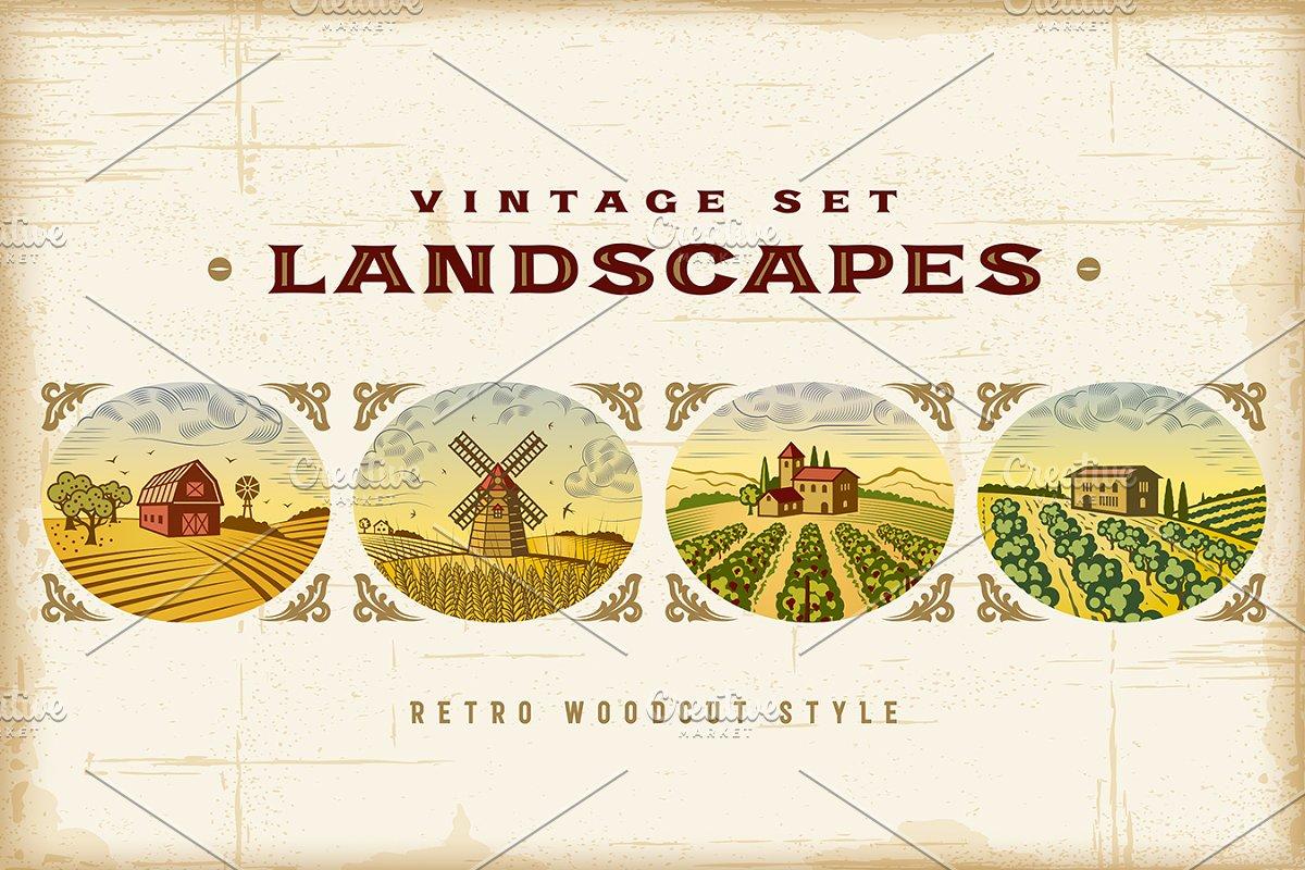 Vintage Colorful Landscapes Set