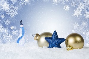 Christmas scene & gold ornaments