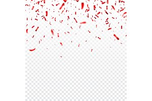 Christmas, Valentines day red confetti on transparent background. Falling shiny confetti glitters. Festive party design elements.