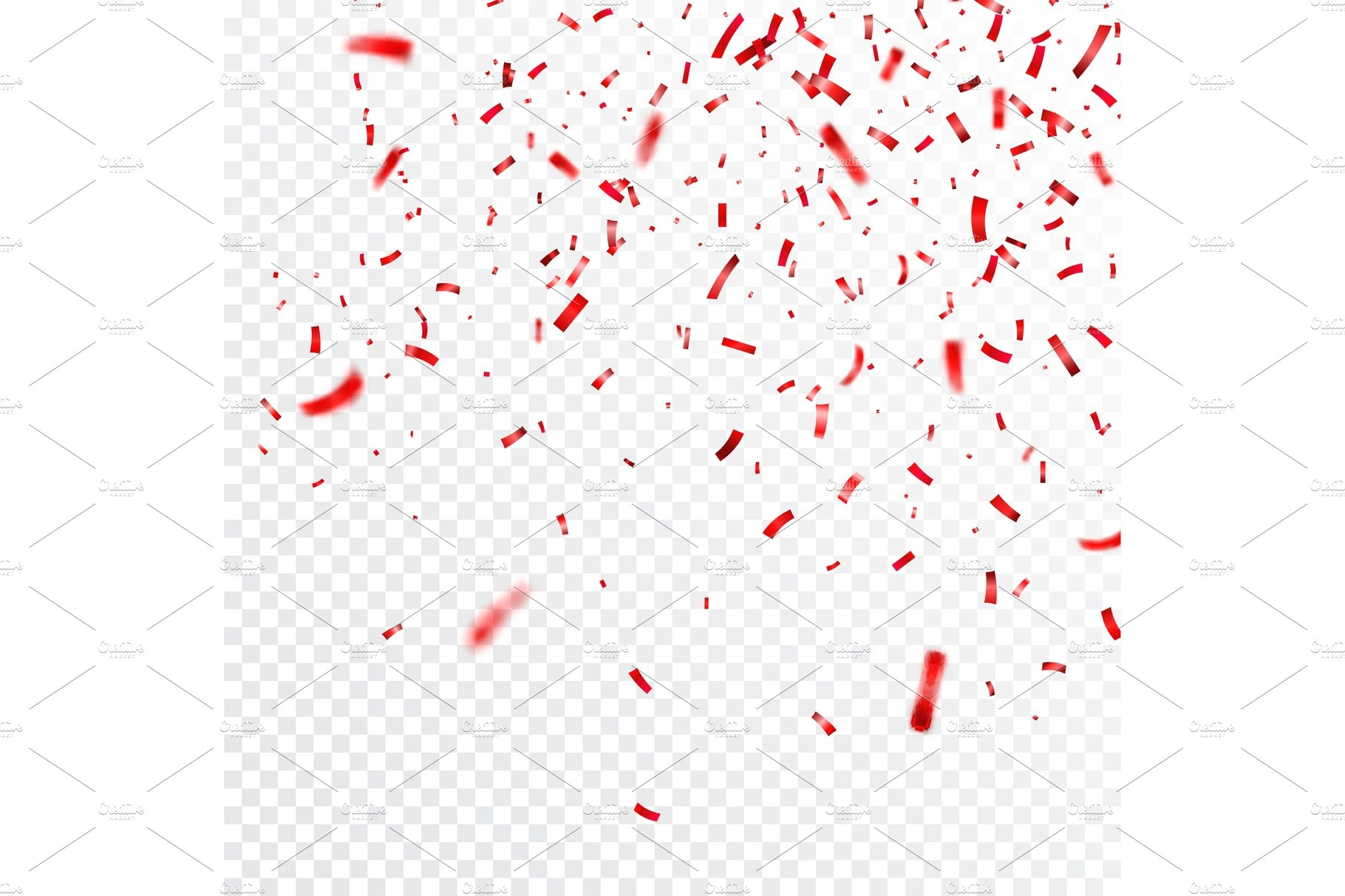 Christmas Valentines Day Red Confetti On Transparent Background