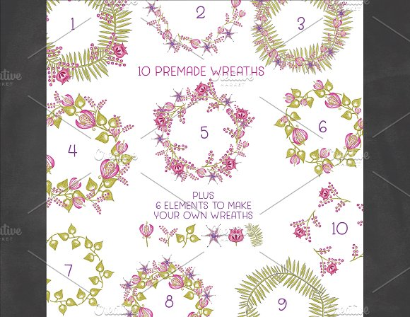 Hand Sketched Wildflower Wreaths in Illustrations - product preview 1