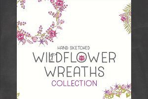 Hand Sketched Wildflower Wreaths