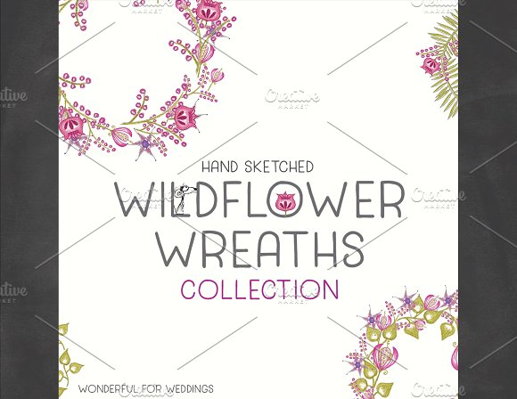 Hand Sketched Wildflower Wreaths in Illustrations