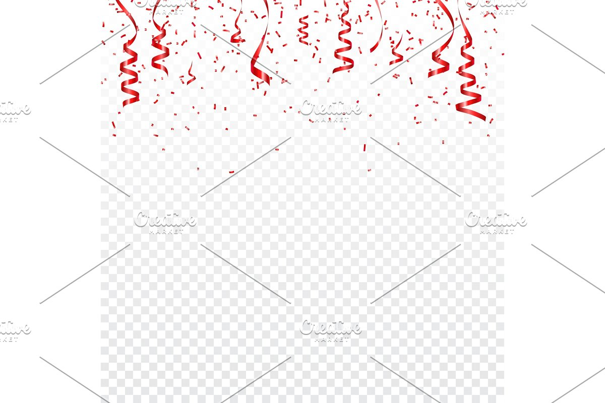 Christmas, Valentines day red confetti with ribbons on transparent background. Falling shiny confetti glitters. Festive party design elements.