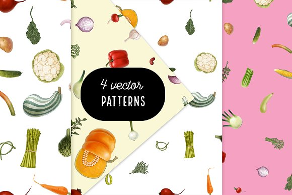 Huge hand drawn vegetables in Illustrations - product preview 5