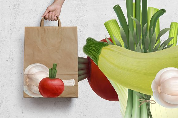 Huge hand drawn vegetables in Illustrations - product preview 3