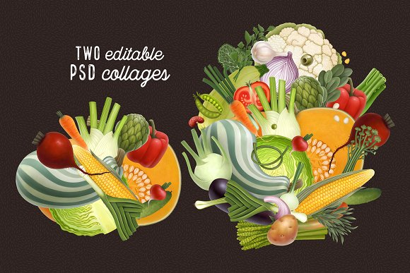 Huge hand drawn vegetables in Illustrations - product preview 11