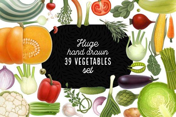 Huge hand drawn vegetables in Illustrations