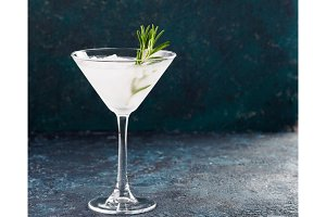 Glass of Martini coctail with fresh rosemary