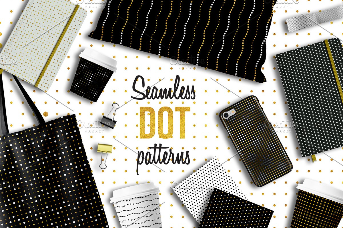 100 Seamless dot patterns