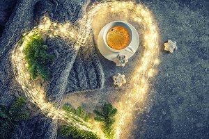 Coffee, cookies, Christmas lights