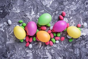 Colorful Easter eggs. Festive background