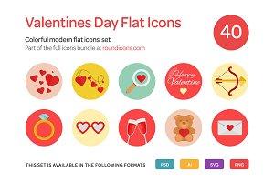 Valentine's Day Flat Icons Set