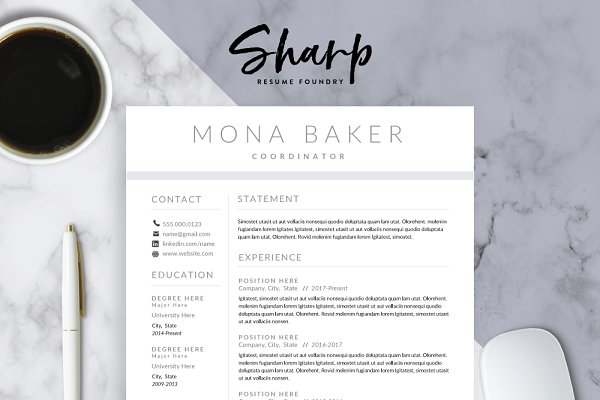 Resume Templates: SharpResumeFoundry - Modern Resume Template for Word