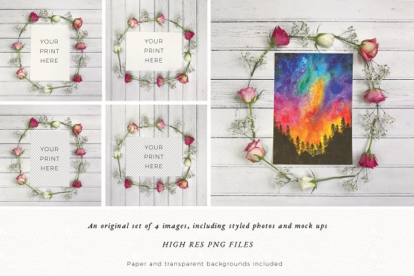 Floral Mock Up | Flatlay | Rustic