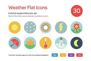 Weather Flat Icons Set