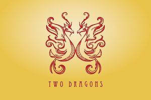 Dragon twins and fanciful butterfly