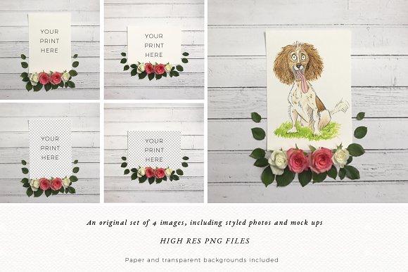 Floral Mock Up | Flatlay | Template in Print Mockups