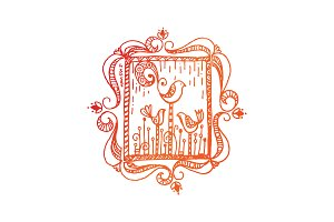 3 birdies hand illustration logo
