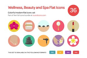 Wellness, Beauty and Spa Flat Icons