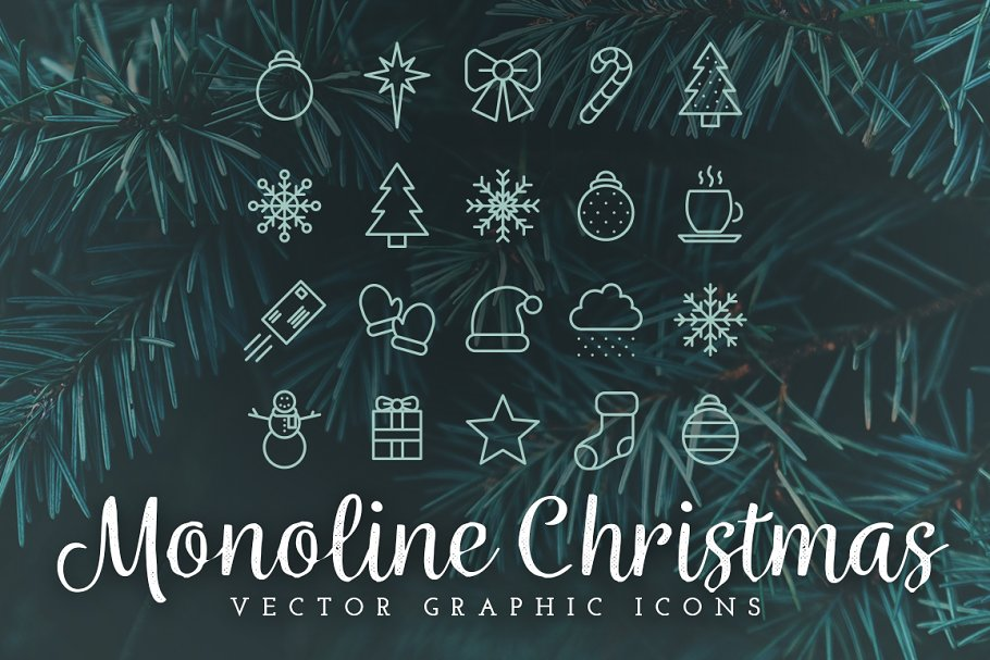 Monoline Christmas Icons in Christmas Icons