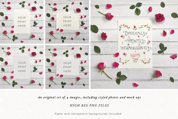 Flowers Mockup | Rustic | Flatlay in Product Mockups