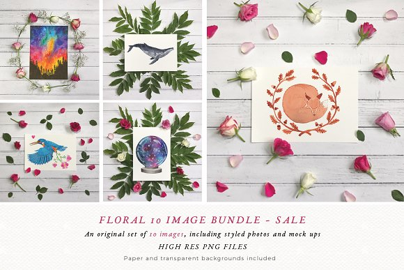 Flowers Mockup | Rustic | Flatlay in Print Mockups - product preview 1