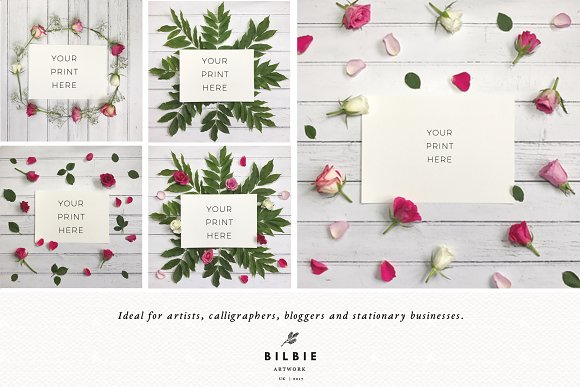 Flowers Mockup | Rustic | Flatlay in Print Mockups - product preview 2