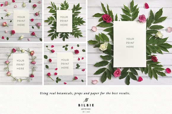 Flowers Mockup | Rustic | Flatlay in Print Mockups - product preview 3
