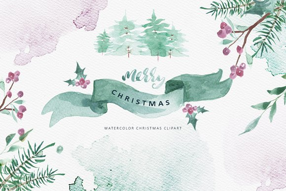 Merry Christmas Watercolor Bundle