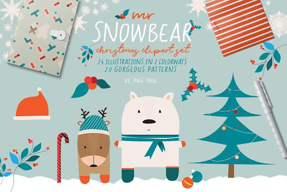 Mr Snowbear Clipart Set