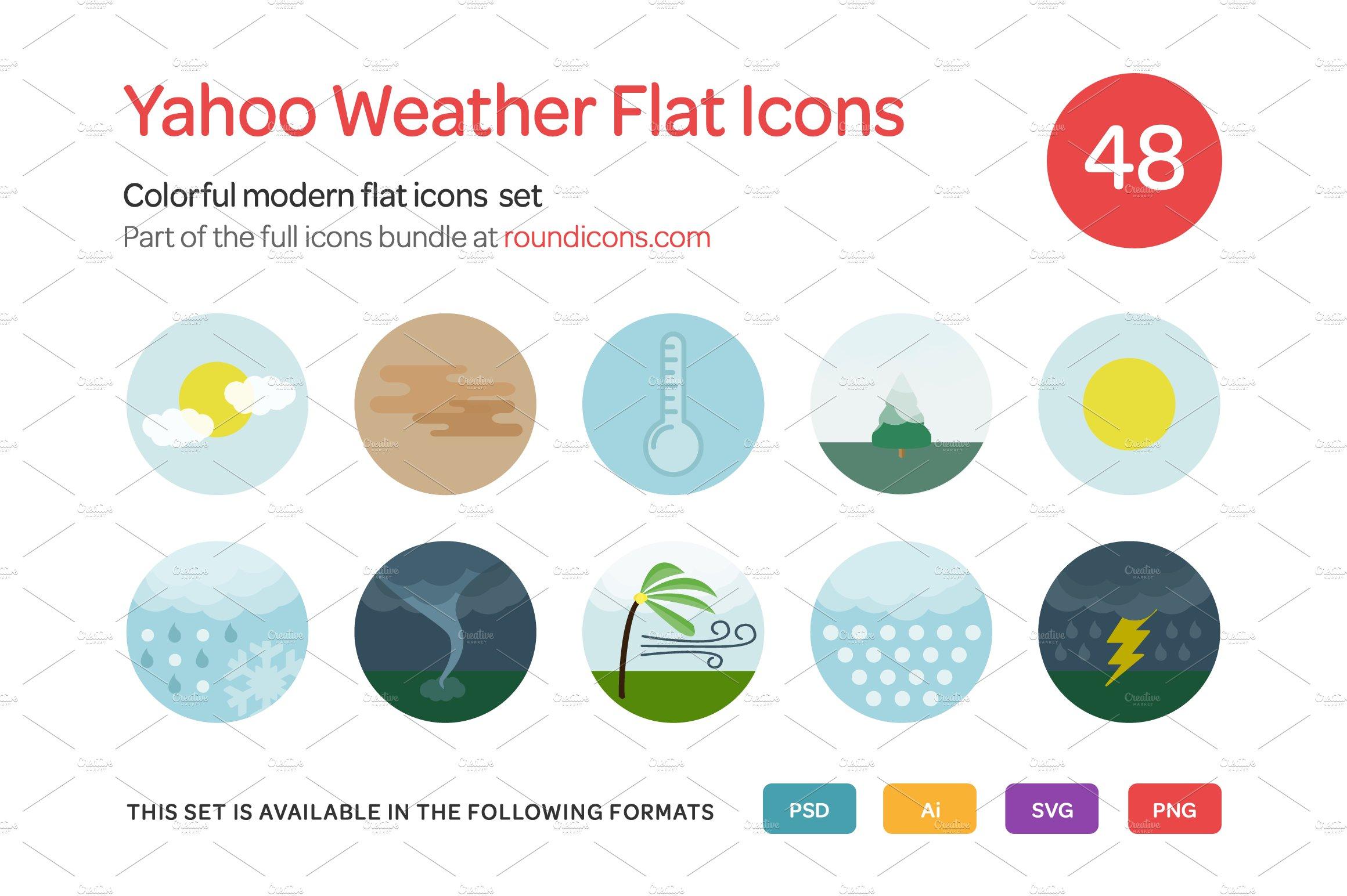 Yahoo Weather Flat Icons Set ~ Icons ~ Creative Market