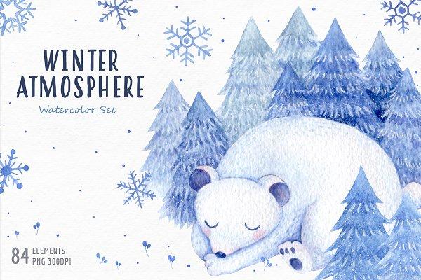 Watercolor winter atmosphere set