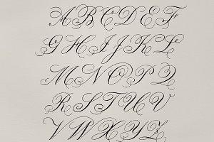 Cursive fonts of alphabets (PSD)